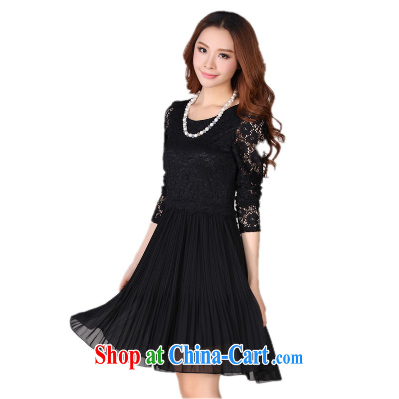 The delivery package as soon as possible e-mail XL female lady lace dresses fall 2014 Mount Snow woven stitching long-sleeved video thin OL solid skirt skirts mm thick black 4 XL 165 - 175 jack