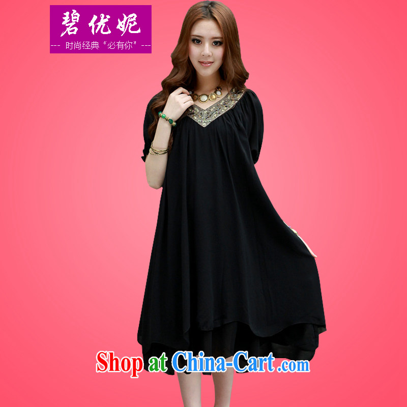 Pi-optimized Connie new AD and indeed XL female summer mm thick Korean loose video thin short-sleeve, long, emulation, snow-woven dresses BW 20,912 black 4 XL recommendations 175 - 190 jack