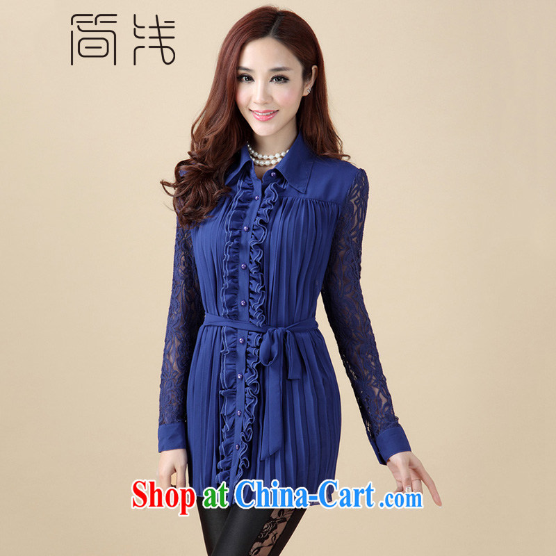 In short light 2015 King, female roll collar lace, long, snow-woven shirts thick girls with graphics thin, Summer Snow woven shirts long-sleeved women 1067 blue XXXL