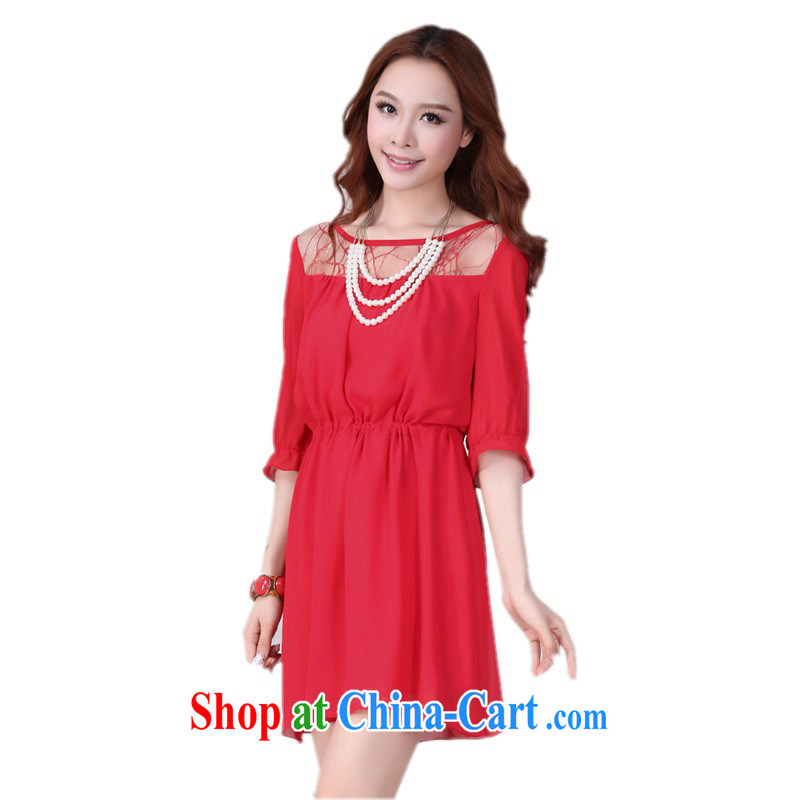 Elections to the payment as soon as possible is the XL women dresses 2015 spring and summer load new lace stitching snow woven cuff in short red skirts casual loose video thin skirt red 4 XL 180 - 200 jack