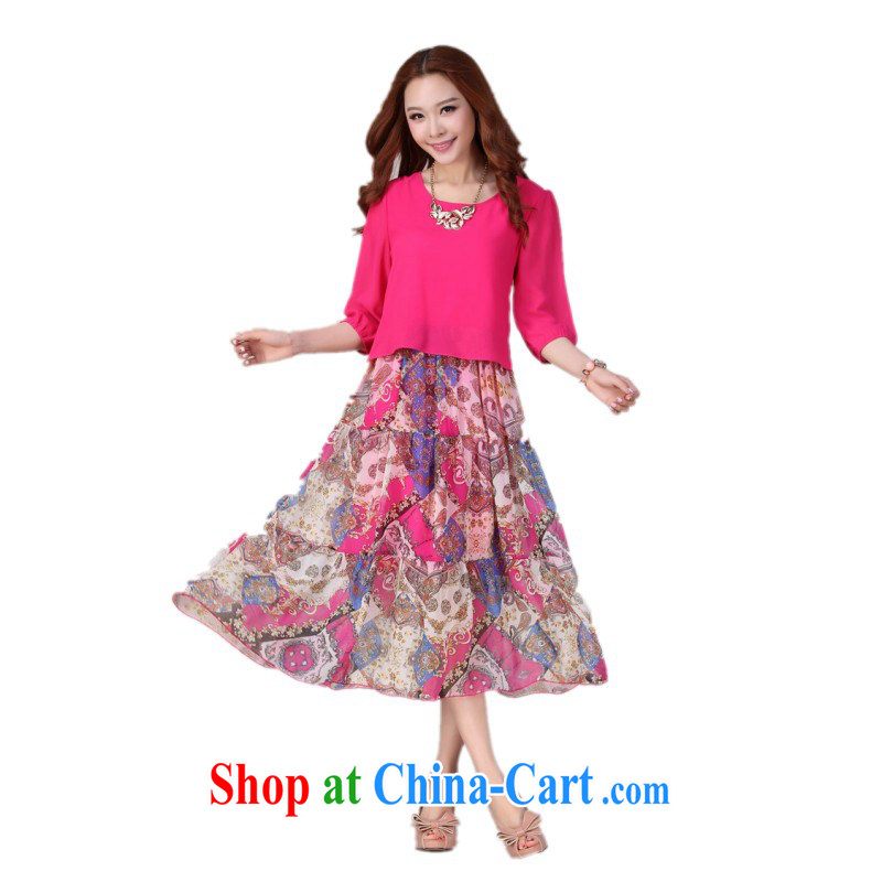 XL dress dresses 2015 summer new stylish bohemian stamp beach dress casual thick mm resort long skirt snow skirt woven cuff in the red 4 XL 160 - 175 jack