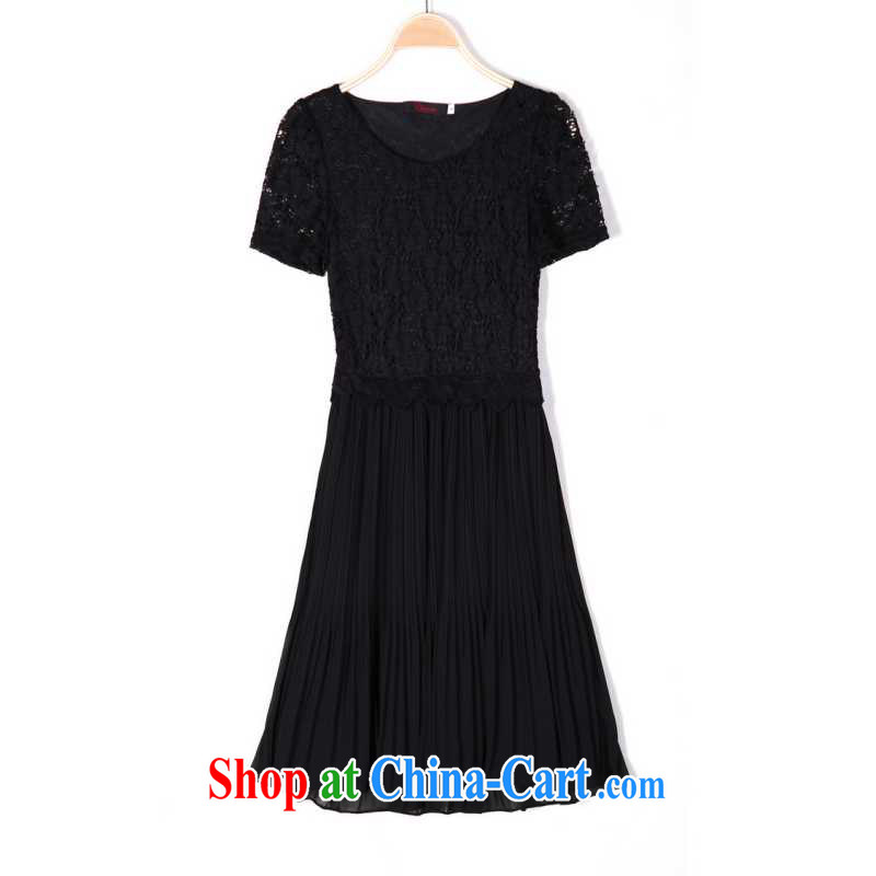 The delivery package mail  Intensify, stylish women's clothing dresses 2014 summer lace short sleeve graphics thin ice woven skirt elegant 100 hem commuter solid color black 4 XL 160 - 175 jack