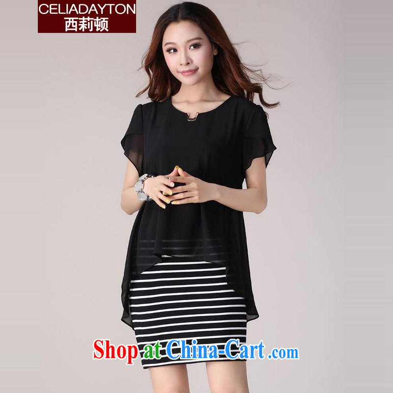 Ms. Cecilia Clinton's large, female 2015 popular new short-sleeved leave two snow woven dresses the fat and loose fat MM graphics thin short skirt mask poverty wonton fillings black 4XL