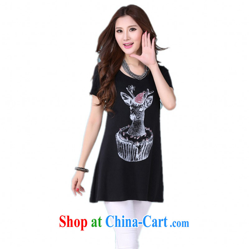 The delivery package as soon as possible the 2015 summer new Korean cartoon deer stamp lovely lady and ventricular hypertrophy, T shirt gown short-sleeved cotton shirt T black 2XL 130 - 155 jack
