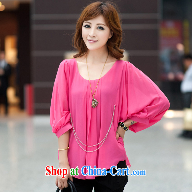 Ms. Cecilia Clinton's large, female 2015 spring and summer with new and indeed increase 200 Jack thick MM loose video thin ice woven shirts bat T-shirt and elegant name Yuan T-shirt by red 4 XL