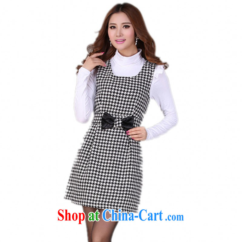 The delivery package as soon as possible the 2014 autumn and winter with new hot classic 1000 bird grid gross? dresses and ventricular hypertrophy, commuter vest solid skirt m thick black are code 90 - 115 jack