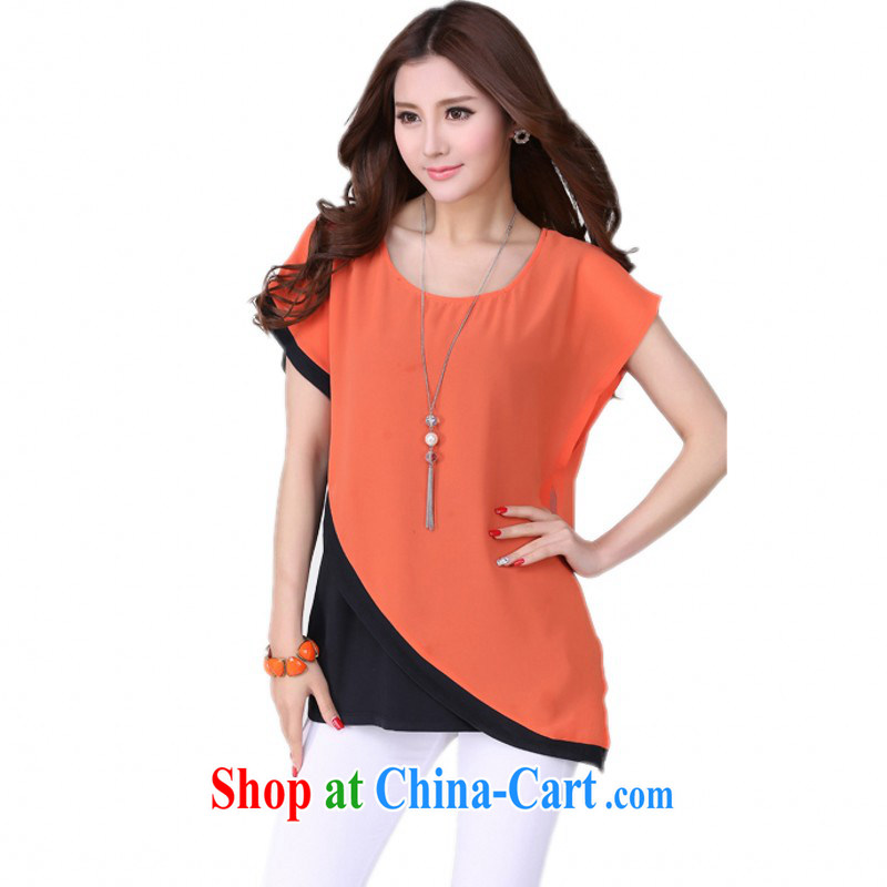 The delivery package as soon as possible e-mail XL female snow woven shirts, loose bat short-sleeved leave two-piece small T-shirt shirt mm thick T-shirt casual graphics Thin Small code t-shirt orange 4 XL 170 - 190 jack