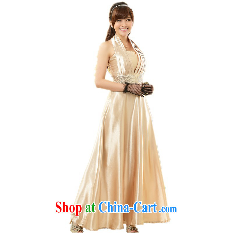 The delivery package mail  Intensify, women dress in Europe and America, and is also exposed the small dress Evening Dress upscale, the waist long skirt thick mm champagne color code 90 - 115 jack