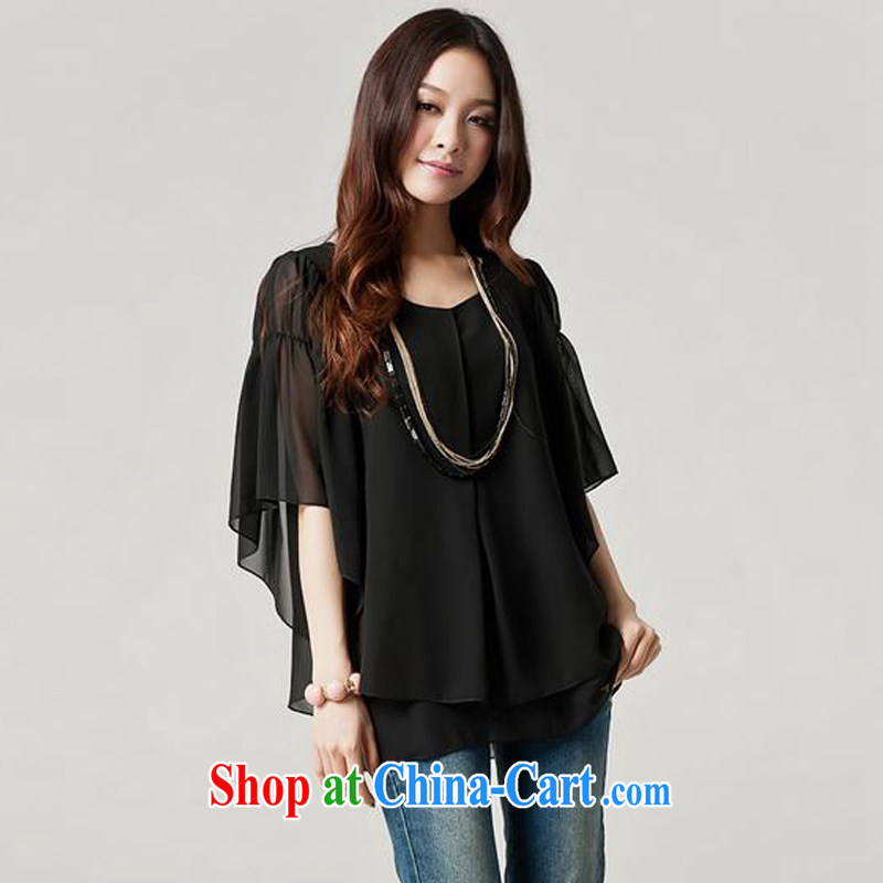 Ms. Cecilia Clinton's large, female 2014 summer new and indeed increase 200 Jack thick MM loose video thin bat sleeves snow woven T-shirt cute name Yuan Yi flouncing sleeved black XXXXL
