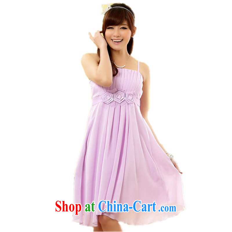 The delivery package mail  Intensify, female dresses sweet kidney lady GALLUS DRESS wedding bridesmaid sister small dress mm thick snow woven High-waist purple XL 3 155 - 175 jack