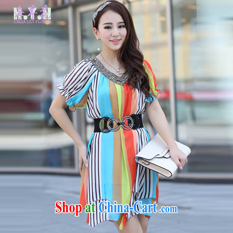 The line between a new paragraph V collar color streaks the code dress snow woven skirt Korean version of the greater code dress dress mm thick dresses and indeed intensify HVX 6 orange stripes 3XL