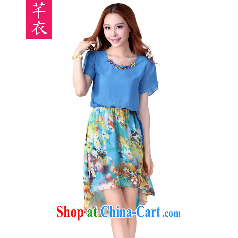 Constitution Yi XL dresses 2015 summer new Snow woven short-sleeved skirt thick sister beach skirts thick mm Bohemia stamp duty holiday skirt blue 2 XL 130 - 140 jack
