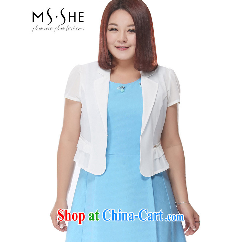 MSSHE XL women summer 2015 new thick mm video thin OL short-sleeved V collar cardigan small, shoulder jacket 3522 white 2XL