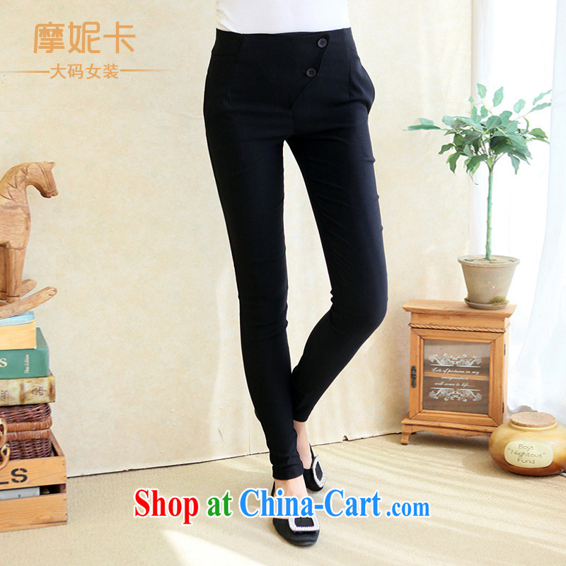 mm thick spring 2014 the code female Korean version of the new, thick sister graphics thin stretch pant 100 ground children pants Black Elastic better XXXL