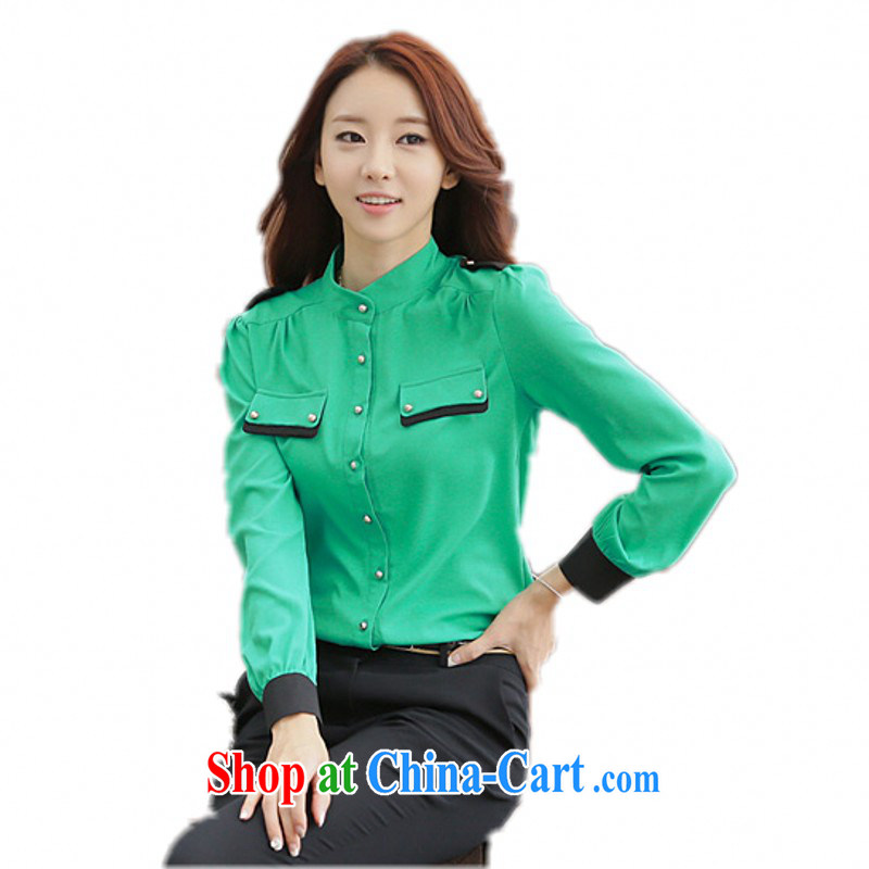 The delivery package as soon as possible e-mail XL ladies shirt Korean retro OL elegant long-sleeved snow woven shirts and white collar commuter solid color shirt graphics skinny shirt thick m Green 3XL 150 - 165 jack