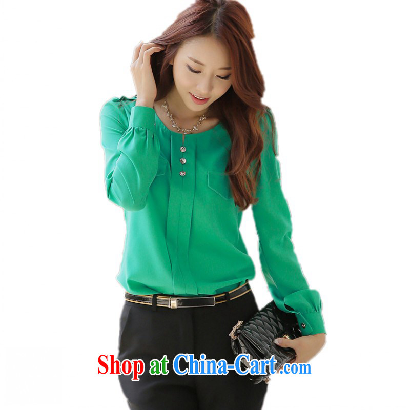 The delivery package as soon as possible e-mail XL ladies' autumn T-shirt Han version with thin long-sleeved shirt snow woven shirts leisure video thin OL commuter shirt temperament T shirt green 3 XL 145 - 160 jack