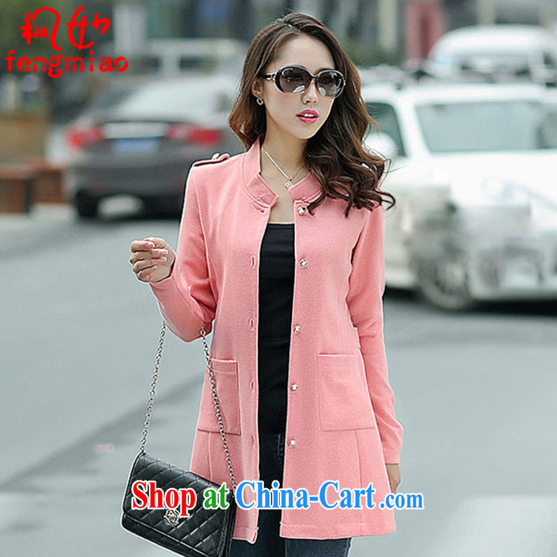 Alice Ho Miu Ling Nethersole maple 2014 autumn and winter with the Code on girls in long knitting cardigan dress jacket 7104 _pink 1026 L .