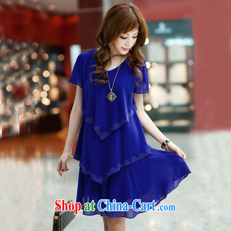 fat people dress and indeed intensify sister graphics thin ice woven dresses larger female thick mm summer 2014 new - 2 A 99 large blue code 4 XL _recommendations 170 - 190