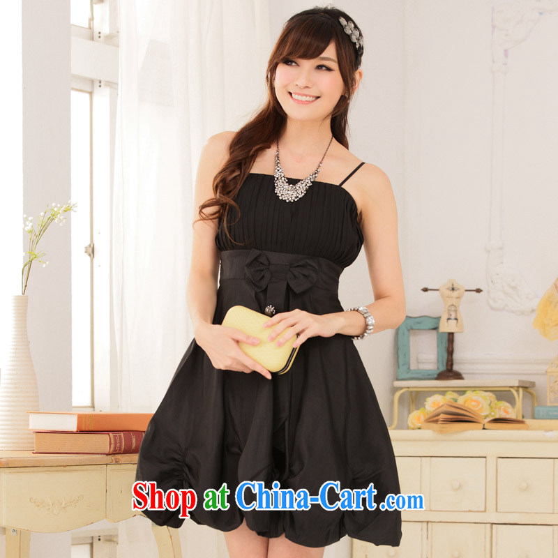 XL dress dresses 2015 summer new, only the princess the hem wiped their bra straps dress stylish evening dress small lanterns skirt black 3 XL 155 - 170 jack