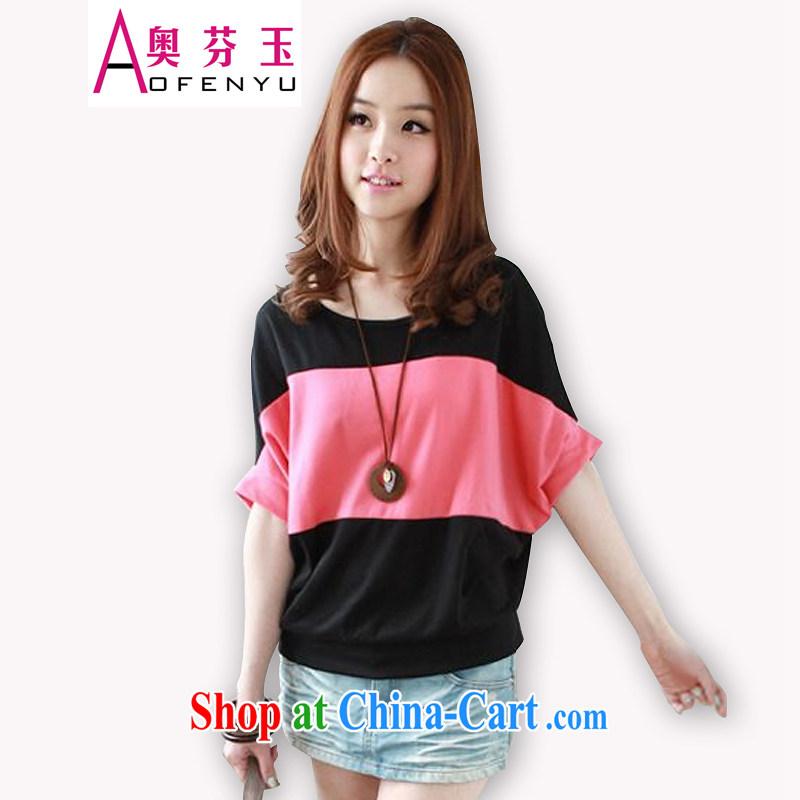 Mr. LEUNG Yuk 2015 summer bat sleeves hit color loose short-sleeved T-shirt female black peach XXL