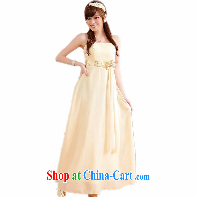 XL dress dresses 2014 summer New Name-yuan and elegant light version bow-tie high-end snow woven long skirt small dress GALLUS DRESS sister wedding dress champagne XL 115 - 135 jack