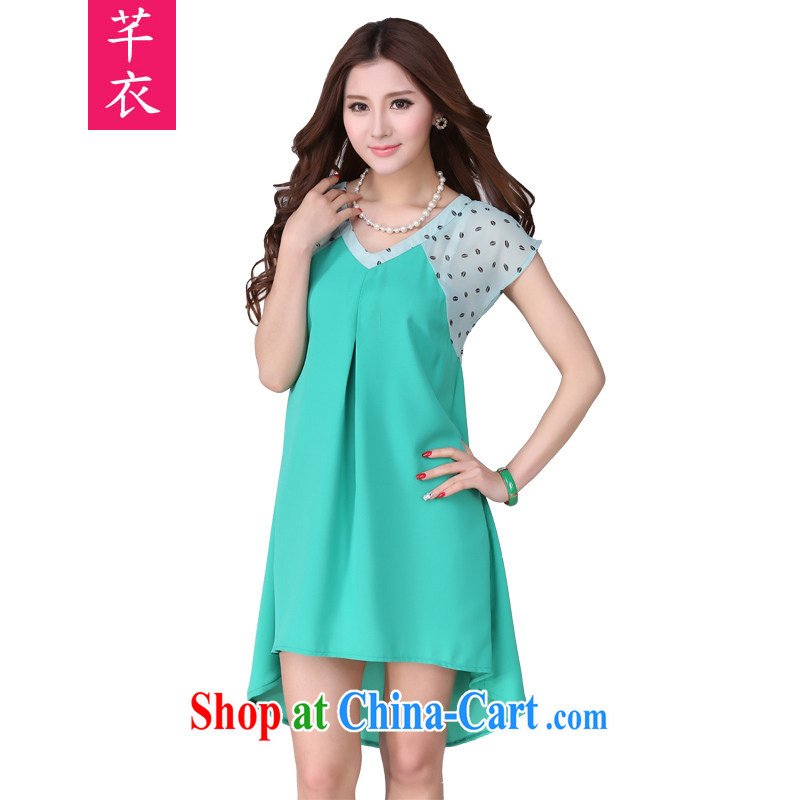 Constitution, thick sister XL dresses summer 2015 new Korean lips snow woven stamp loose lady holiday skirt fresh softness thick mm leisure beach skirt green 2 XL 135 - 150 jack