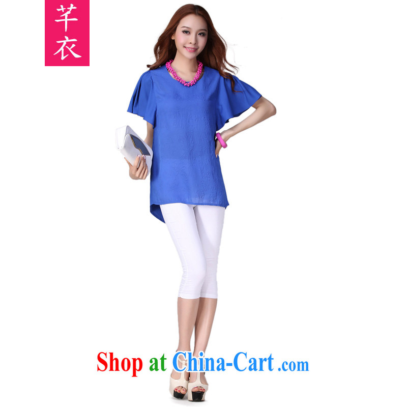 Constitution Yi Code T shirts summer new 2015 short-sleeved snow woven shirts beauty mm thick leisure Korean small shirt relaxed atmosphere thick sister summer leisure shirt blue 3XL 140 - 150 jack