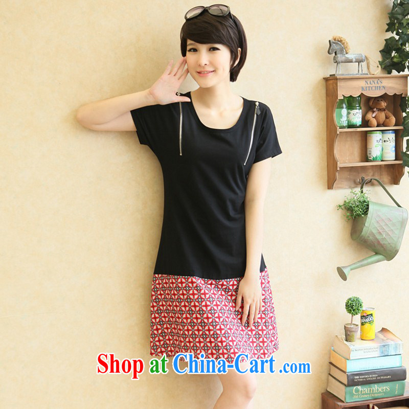 The package mail and indeed XL 2015 new zipper cosmetic Korean short skirt geometric stamp OL casual dress thick mm video thin skirt black L 120 - 130 jack