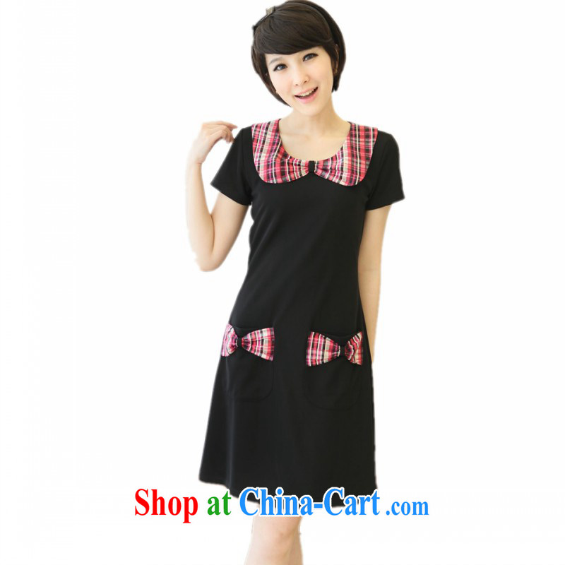 The e-mail package is indeed the XL 2015 new sweet tartan bow short-sleeved dresses thick mm video thin beauty larger skirt black 3 XL 170 - 185 jack