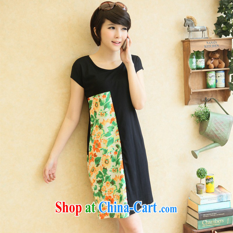 The package mail 2015 New, and ventricular hypertrophy, as well as Korean version elegant floral stitching black graphics thin skirt short-sleeved simple commute the code short skirt summer dress Black Elastic 3 XL 175 - 185 jack