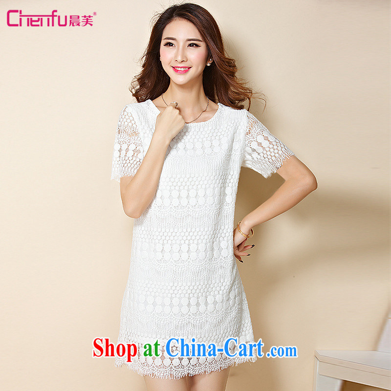 Morning would be 2015 thick sister new summer Korean lace leave of two garment is the XL girls decorated in graphics thin round-collar short-sleeve lace dress white 5XL