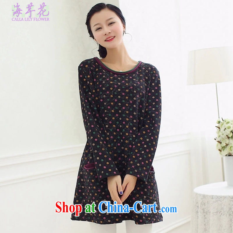 The line takes the Code women's clothing spring new Korean video thin thick mm personalized spell color the stamp duty is loose cotton dress, solid through DBT - 4 black and gray color is the code XL