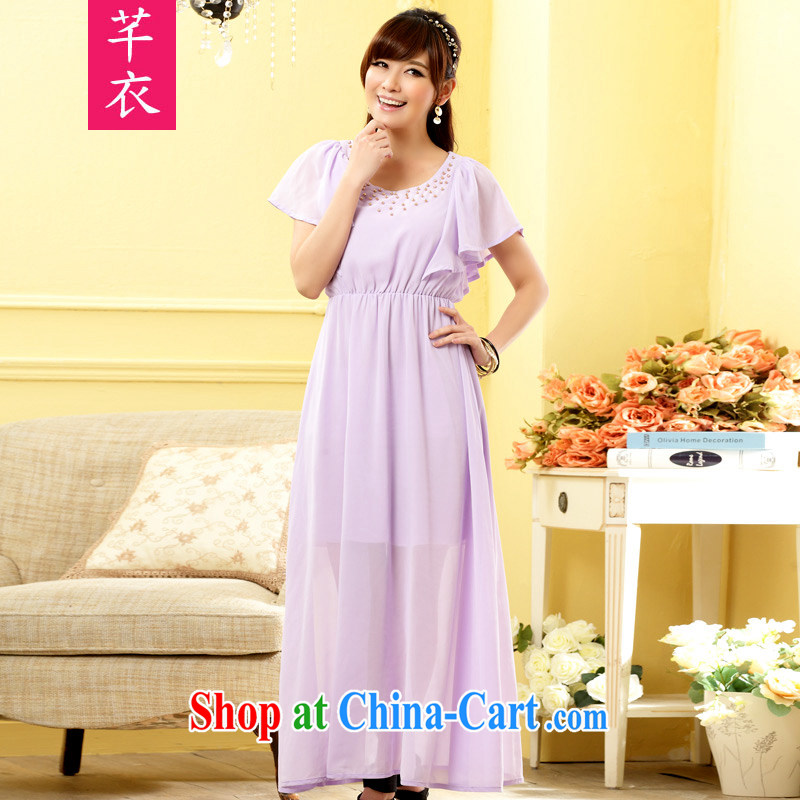 Constitution Yi XL women thick sister 2015 New American, bright flouncing cuff ladies long skirt with nails Pearl elasticated waist dress annual dress purple large XL 3 160 - 180 jack