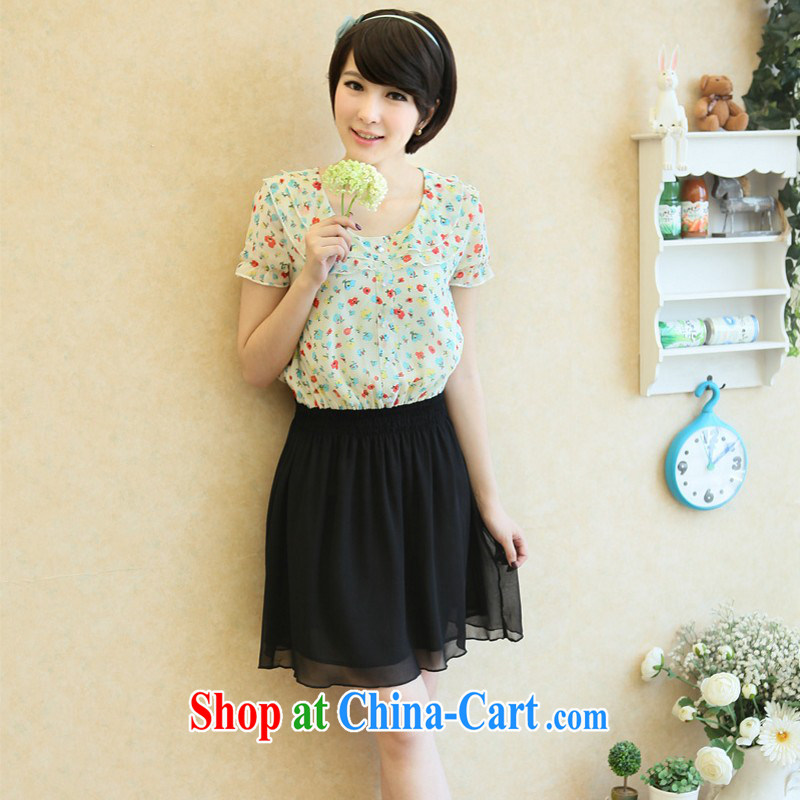 The e-mail package is indeed the XL new summer sweet small floral flouncing for collision color stitching snow woven skirt thick mm elegant OL short-sleeved skirt apricot 3XL 175 - 185 jack