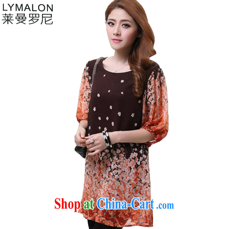 Lehman Ronnie lymalon fat people graphics thin summer 2015 new Korean XL girls stylish 100 ground, snow cuff woven dresses 1602 floral orange 5 XL