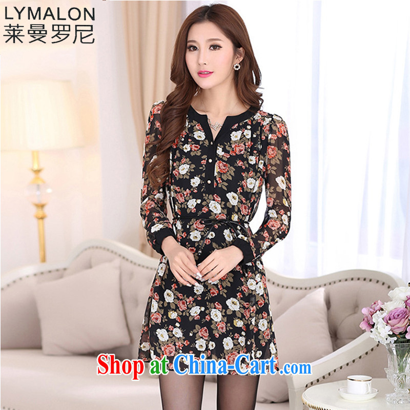Lehman Ronnie lymalon payments spring 2015 new, thick, thin. The Code women decorated long-sleeved stamp dress 7020 picture color 4 XL