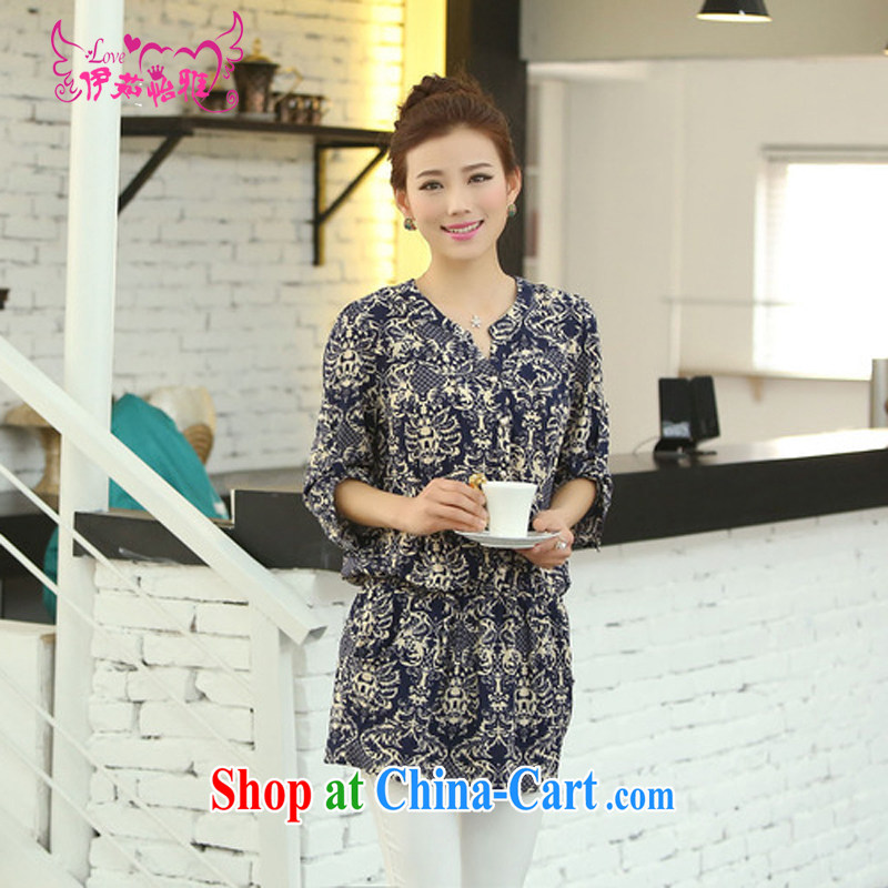 The Ju-Yee Nga summer girls with thick MM graphics thin and thick and loose the suit, female 4 XL long shirt 70,183 Tibetan blue and white porcelain 7 cuff XXXXL