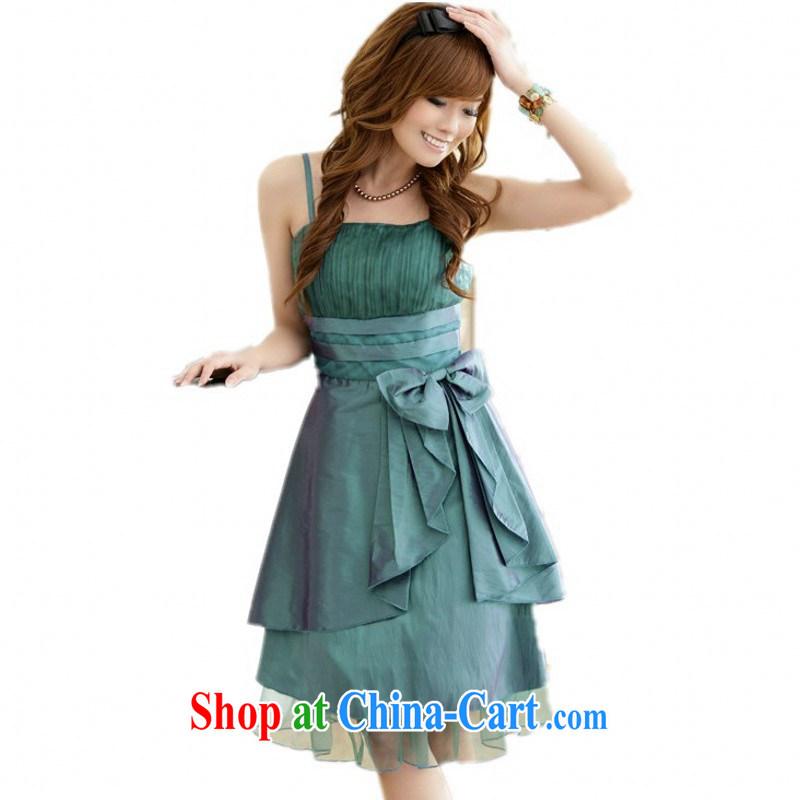 XL dress dresses 2015 summer new Korean version the bow-tie-waist small dress Evening Dress dress dress upscale GALLUS DRESS green 3 XL approximately 170 - 190 jack