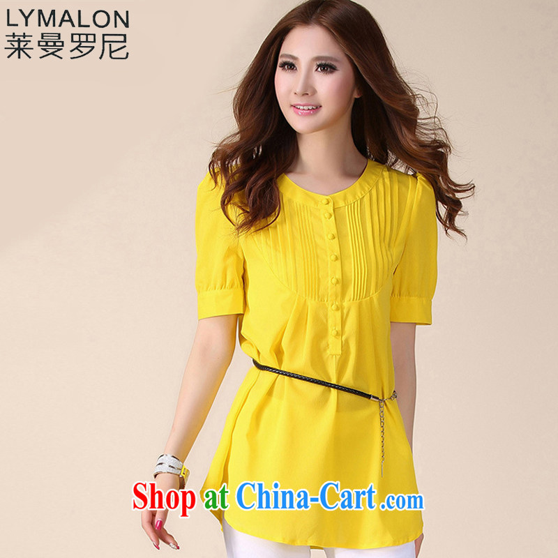 Lehman Ronnie lymalon fat people graphics thin summer 2015 new Korean fashion XL female and stylish 100 ground short-sleeved snow woven shirts 939 yellow XL
