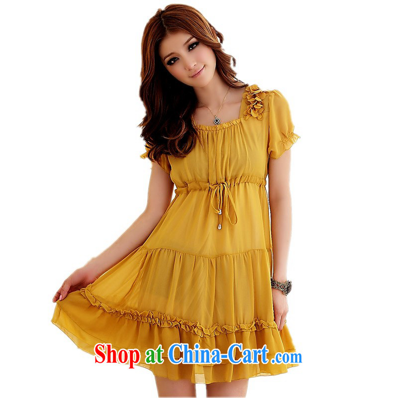 The delivery package as soon as possible e-mail XL ladies dress mm thick sweet lace collar snow woven bubble short-sleeved skirt high waist graphics thin thick mm dresses yellow 3XL 160 - 175 jack