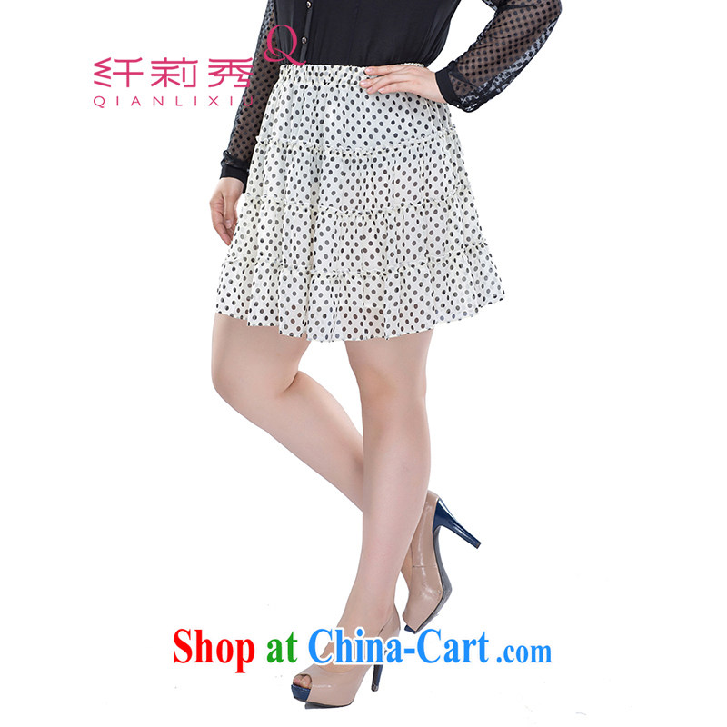 Slim Li-su summer 2014 new larger female Elastic waist sweet wave point 100 snow ground woven body skirt Q 3713 white L