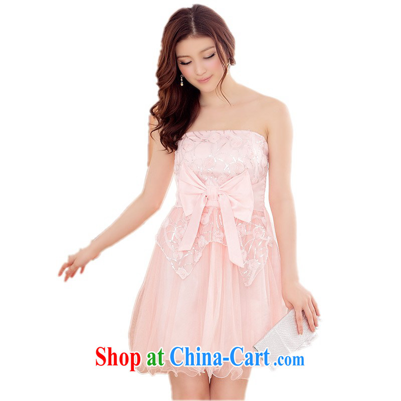 The delivery package mail  Intensify, ladies dress thick mm high mesh ballet take off their bra straps dress wedding dresses bridesmaid sister small dress pink 3 XL 165 - 185 jack