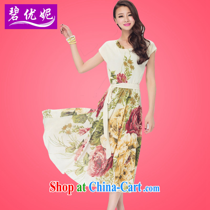 Pi-optimized Connie the fat increase, female summer sleeveless dress mm thick beauty graphics thin emulation, floral snow woven dresses BW 20,913 beige 3XL recommendations 150 - 165 jack