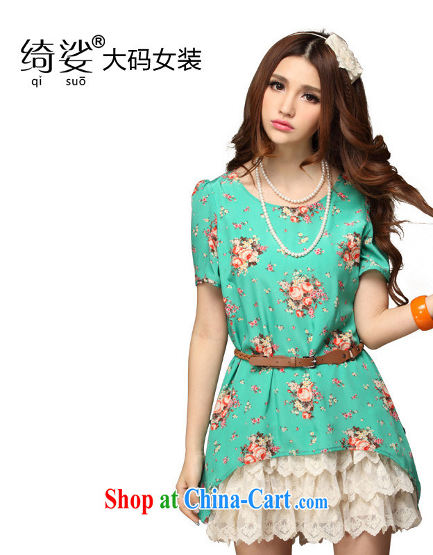 Cross-sectoral quality of larger female thick MM summer Korean OL fancy lace stitching graphics thin short-sleeve dress number 1702 green 4 XL