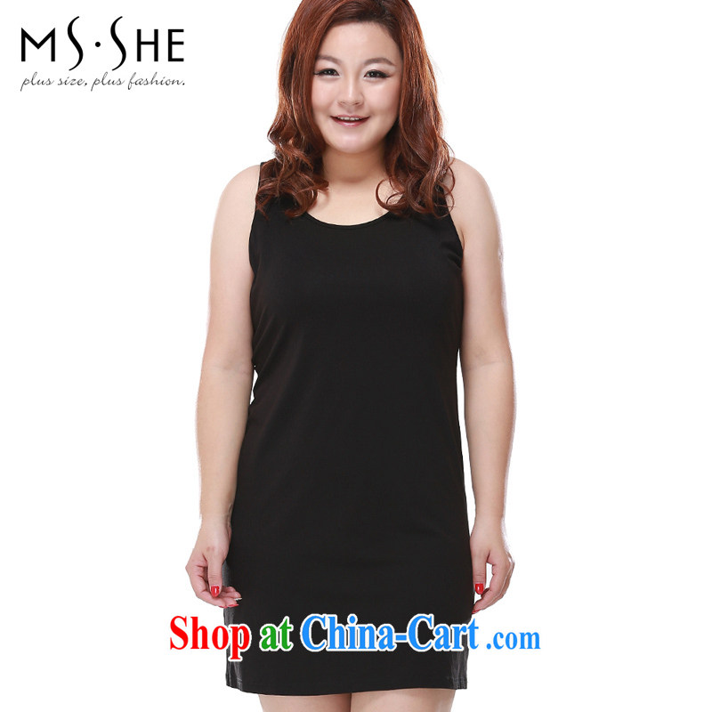 MsShe XL ladies' 2015 summer new, simple and plain-colored beauty package and short strap 6965 skirt black 5 XL