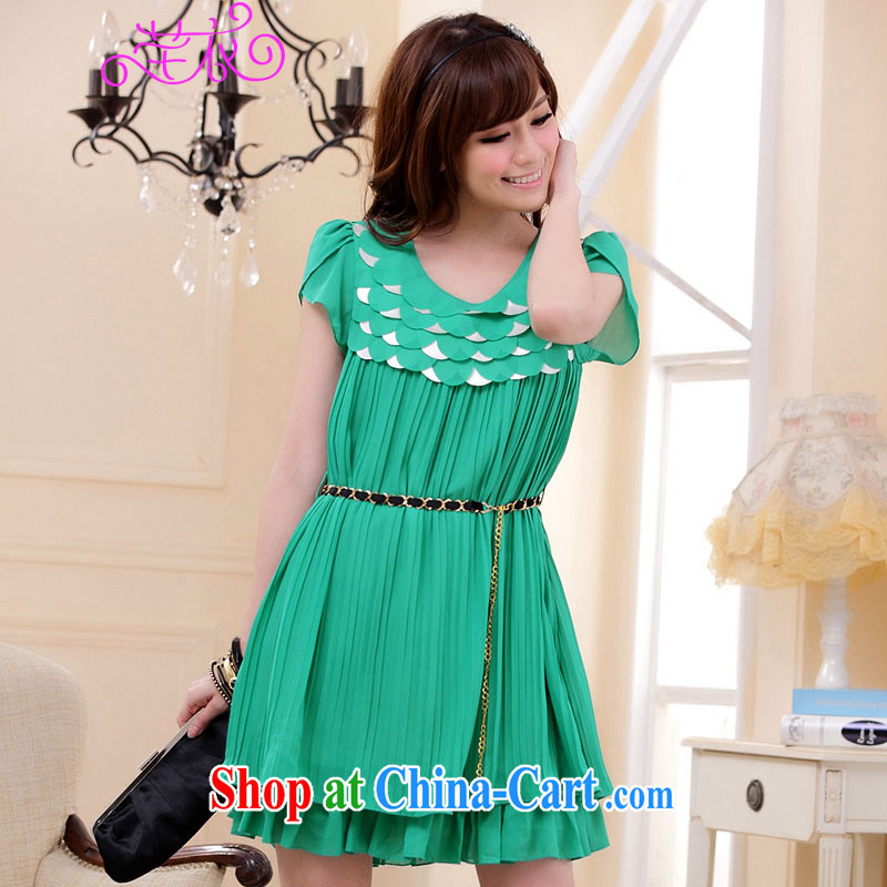 Constitution Yi XL women dresses 2015 Korean version purely manual car Take round-collar short-sleeve pressure hem loose thick sister Pearl snow woven dresses _with green recommended that you take a small code contacts