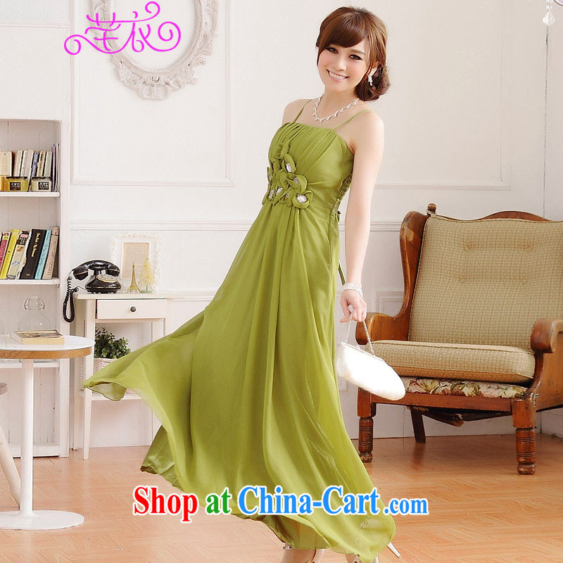 Constitution Yi XL long skirt and elegant 2015 European wind Red Carpet show luxury manually staple drill nails take longer small dress thick sister straps dress green recommended that you take a small code Contact