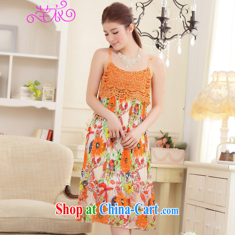 CONSTITUTION AND CLOTHING XL women 2015 new thick mm summer bohemian beach skirt Sun take the lace straps skirt stamp duty holiday long skirt orange large XL 3 165 - 185 jack