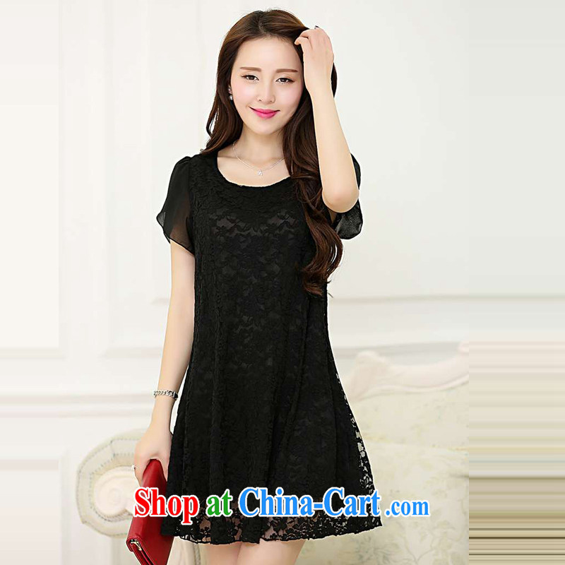 Ms. Cecilia Clinton's large, female 2015 summer new fly cuff beauty lace dresses thick MM and indeed graphics thin men skirt solid stretch Openwork short skirt black 4XL