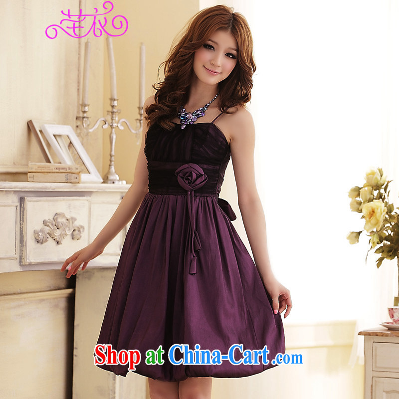 Constitution, 2015 XL female small dress summer sweet-waist graphics thin flowers hanging lanterns with skirt dinner appointment dress thick sister kidney dresses purple large XL 2 140 - 160 jack